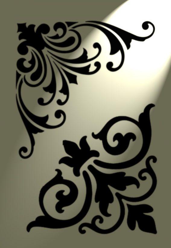 Damask flourish Plastic furniture stencil Shabby Chic A4 297x210mm french des D