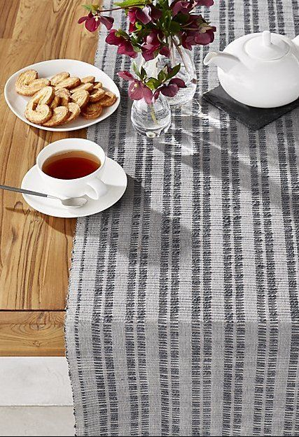 Our Extra Wide Jonas Table Runner Covers More Ground In Decorating Your  Table With Artisan Style. Made Of Tonal Grey Yarns, The Runner Creates A  Textured ...