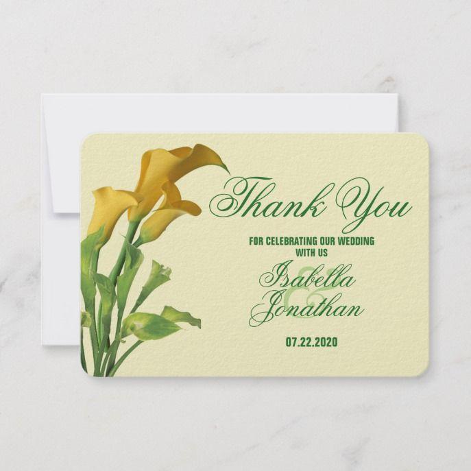 Charming Calla Lily Wedding Thank You Card