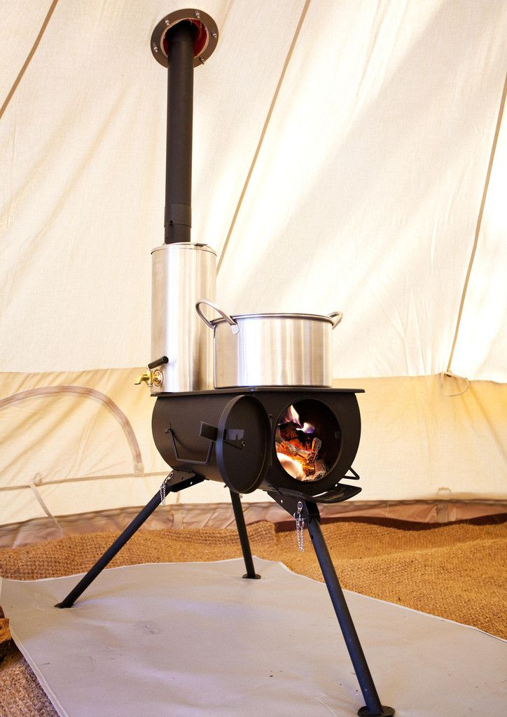 Full stove kit with everything you need, including: Frontier Stove, Water heater, Tent flashing kit, Spark arrestor, Stove bag, Water heater bag, Axe