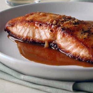Salmon with Sweet and Sour Pan Sauce - quick and so easy that my son makes it at college