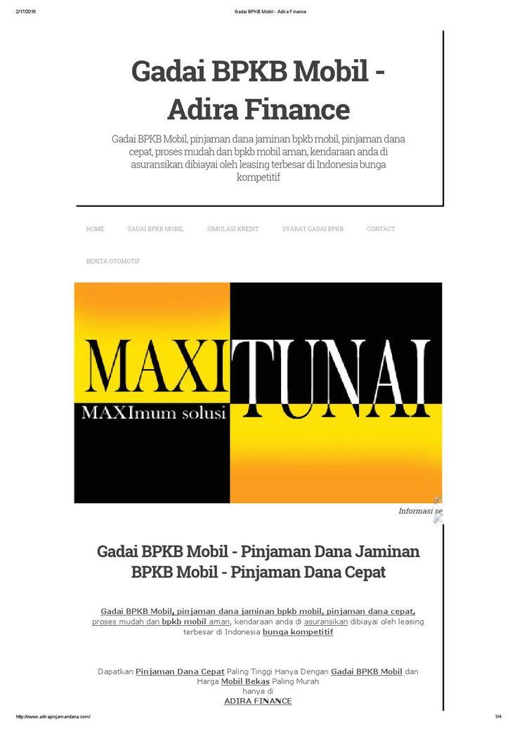 Gadai bpkb mobil adira finance | Mobil