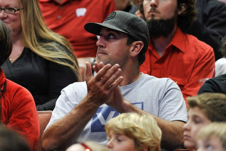 USA TODAY Sports Aaron Rodgers taking in the #Badgers game in Anaheim