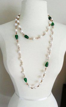 Authentic Vintage 80s Chanel Emerald Glass Stone Pearl Long Necklace $1,178