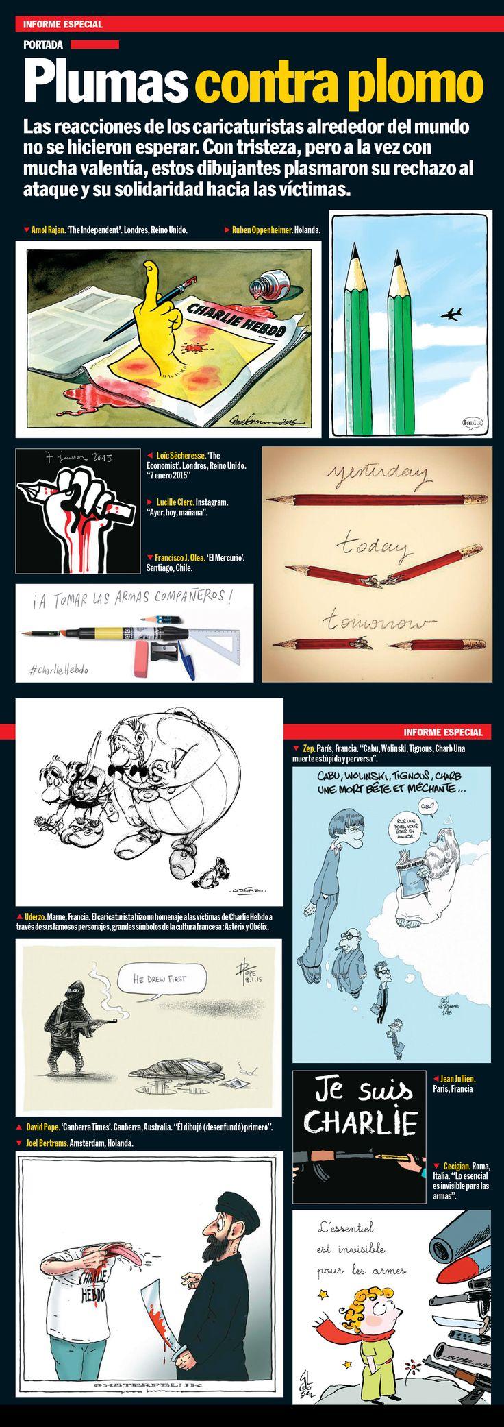 Las reacciones de los caricaturistas alrededor del mundo no se hicieron esperar. Con tristeza, pero a la vez con mucha valentía, estos dibujantes plasmaron su rechazo al ataque y su solidaridad hacia las víctimas.