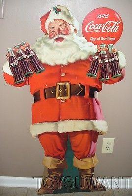 Vintage 1958 Coca Cola Santa Claus Store Display Sign Easel Back Coke Stand Up | eBay