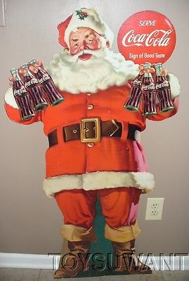 Vintage 1958 Coca Cola Santa Claus Store Display Sign Easel Back Coke Stand Up | eBay