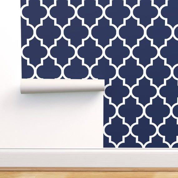 Slate Blue Quatrefoil Peel And Stick Wallpaper Quatrefoil Wallpaper Nuwallpaper Peel And Stick Wallpaper