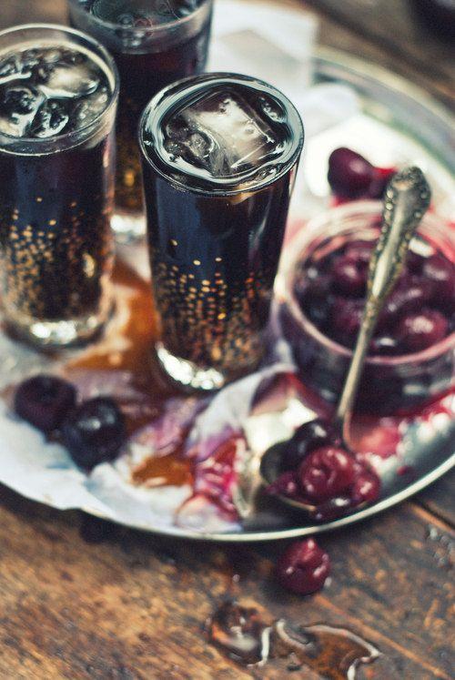 Midnight Mule: A slurry of muddled Cognac-Roasted Cherries, Root Beer Syrup, Root Beer  Cognac