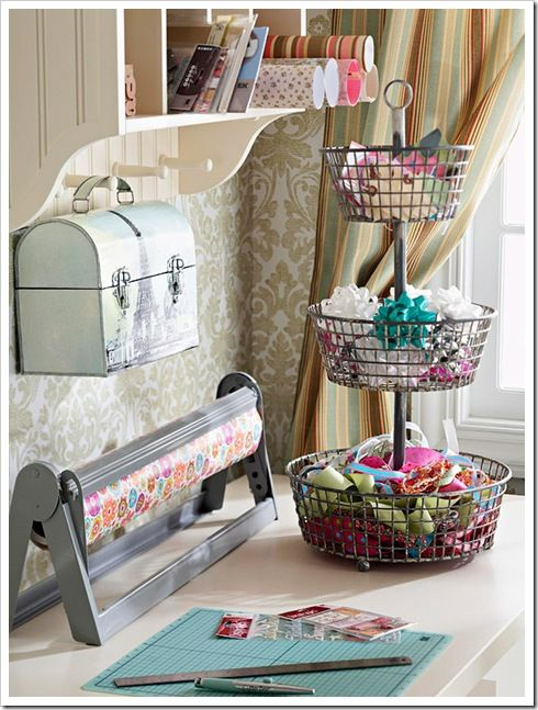 22 Tips to Organize Your Craft Room - - Part 2 - EverythingEtsy.com - vintage lunchbox and 3 tiered basket
