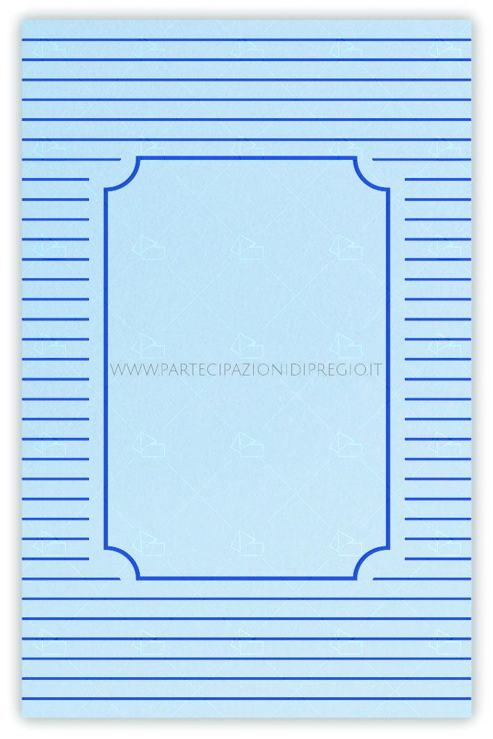Partecipazioni matrimonio - dimensione: 17 x 11 - forma: rettangolare - carta: Gmund Cotton - Gentlemen Blue - 300, 600, 900 gr. - linea: Linee con cornice Serena interna - modello: Versione 1 - lavorazione press: cornici e fregi