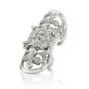 EVBEA® White Gold Plated Vintage Bling Punk Knuckle Rings Beautiful Crystal Cross Full Finger Ring