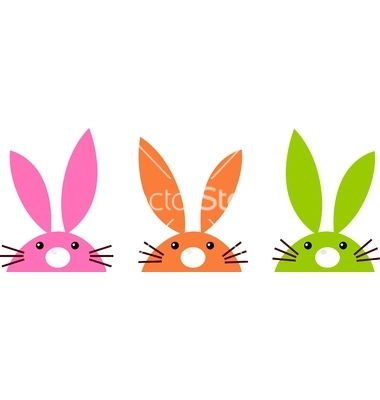 Cute simple easter bunnies set isolated on white vector 1228462 - by lordalea on VectorStock®