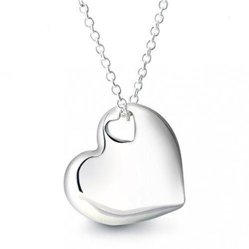 Bling Jewelry 925 Sterling Silver Two Heart Pendant Necklace 16 inches