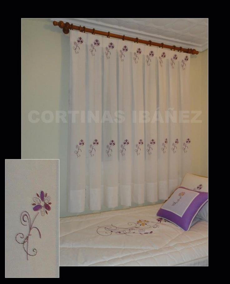 Cortina en visillo bordado confeccionado manual a tablas - Como hacer visillos ...