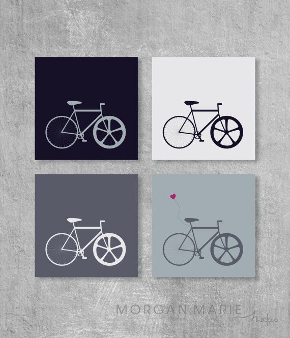 Bike Illustration Wall Print Set of 4 hipster, urban fixie by MorganMarieMakes, $25.00