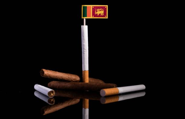 sri lankan flag with cigarettes and cigars tobacco industry concept