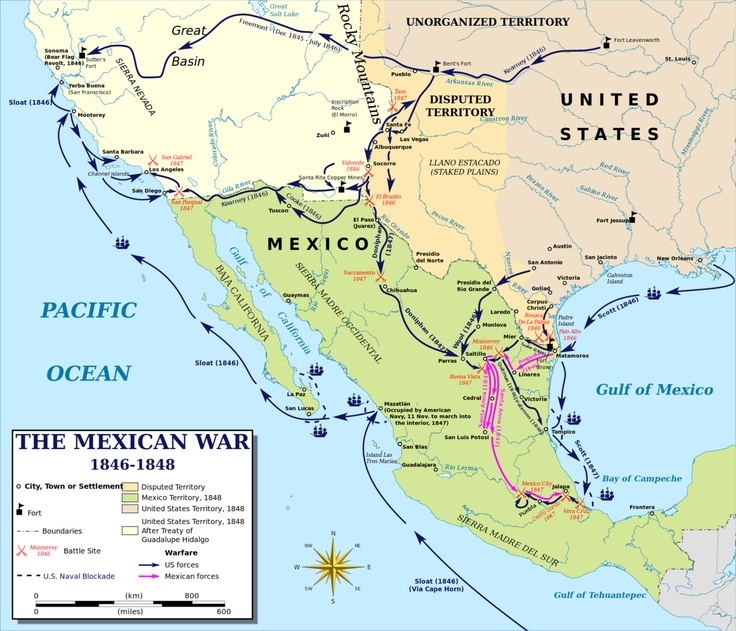 Map of the Mexican-American war, 1846-1848. The Mexican American war was a large way of expansion for the westward expansion. -Gabriela