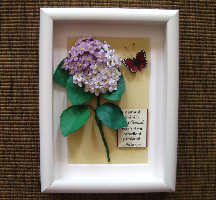 Quilled hortensia (hydrangea) flower (on a 15x20 cm frame)