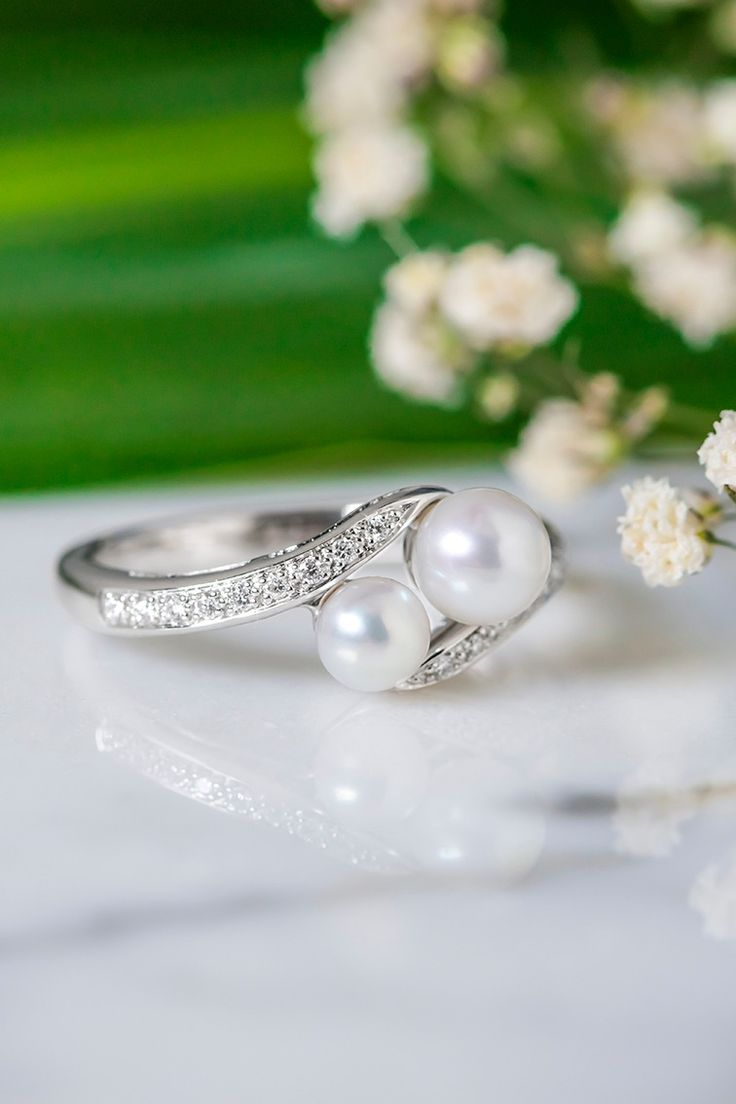456mm Cultured Freshwater Pearl And Diamond Ring In Sterling Silver