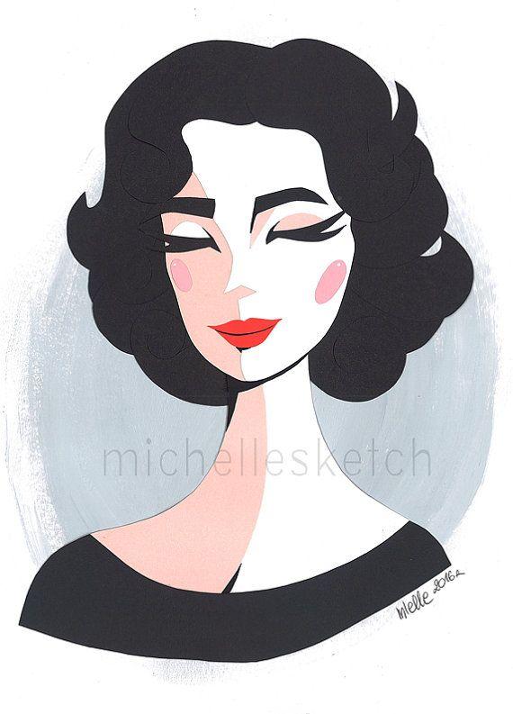 Original Elizabeth Taylor Paper-Cut Portrait
