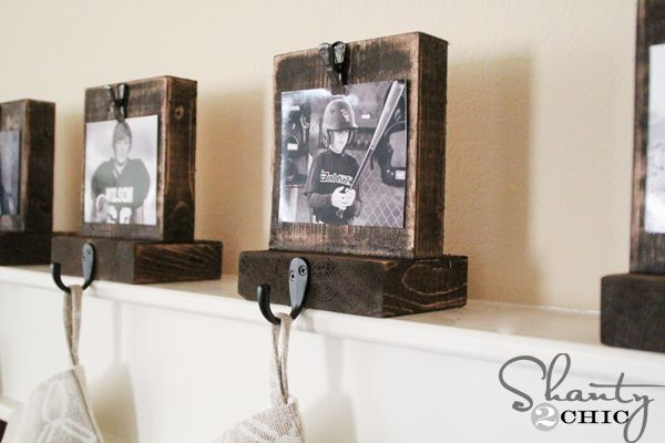 DIY-Stocking-Hangers with changeable pictures! So cool! By Shanty 2 Chic