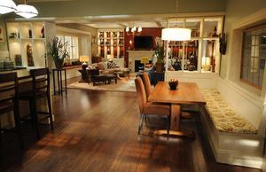 I've decided I want to live in a house that looks like Bones & Booth's house!: Benches Ideas, Dining Rooms, Dining Area, Open Floor, Open Spaces, Boness Houses, Booth And Brennan, Trestle Table, Booths And Brennan