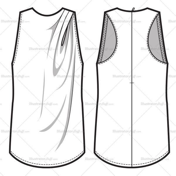 Asymmetrical Drape at neck with short flutter sleeves. Shirt with two floating darts at front & back.