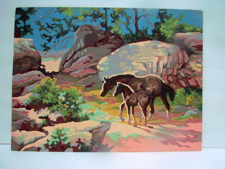 VTG Paint By Number PBN Horse & Pony Desert Scene 16 X 12