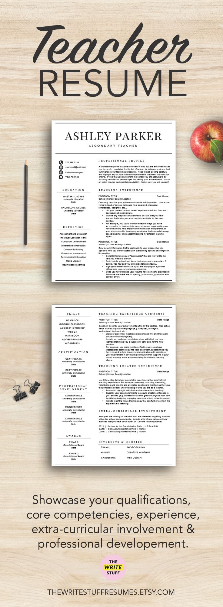 Land your first teaching job with this teacher resume template! The package includes resume writing tips and a cover letter template too!