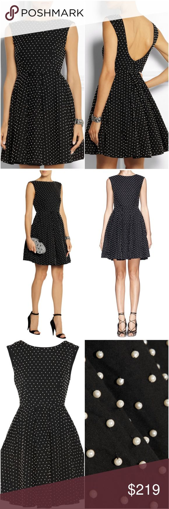 Alice + Olivia Black Faux Pearl-Embellished NWOT Alice + Olivia Black Faux Pearl-Embellished Cotton Mini Dress Little black dress has been embellished with hundreds of lustrous faux pearls and lined throughout for a smooth fit. This style is nipped-in at the waist and cut with a flattering scoop back. The softly pleated skirt is supported by a discreet underlay for volume. - Black cotton - Zip fastening along back - 100% cotton; lining1: 97% polyester, 3% spandex; lining2: 57% nylon, 43%…
