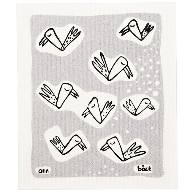 birdy nam nam in grey  Swedish Dishcloths - replace sponges and paper towels  Free delivery within EU