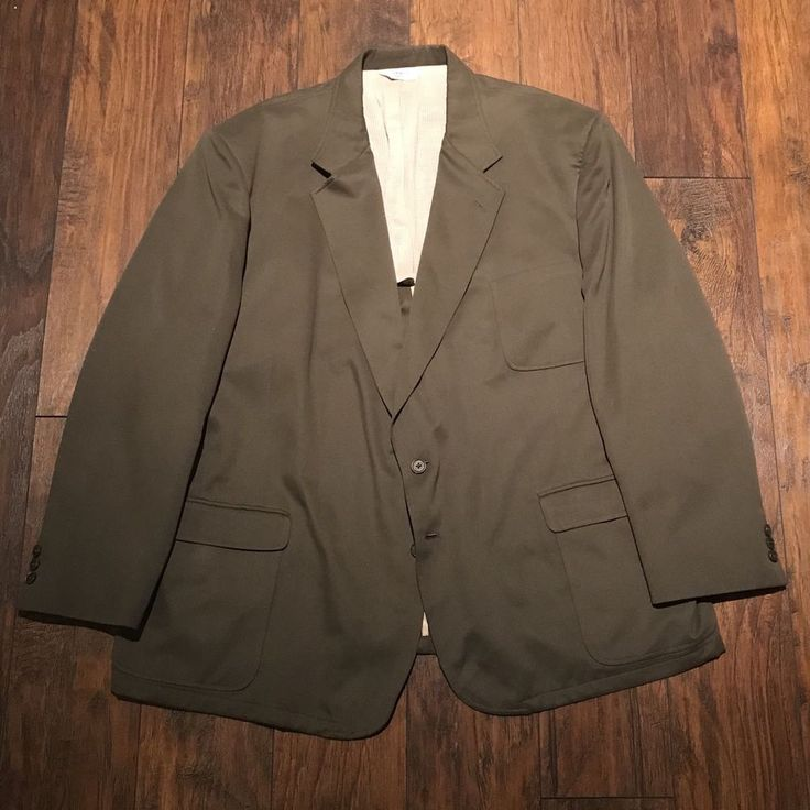 TravelSmith 2 Button Sport Coat Jacket Olive Green Made in USA Mens 54R Big Tall #TravelSmith #TwoButton