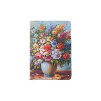 Vintage Floral Bright Country Flowers Painting Passport Holder