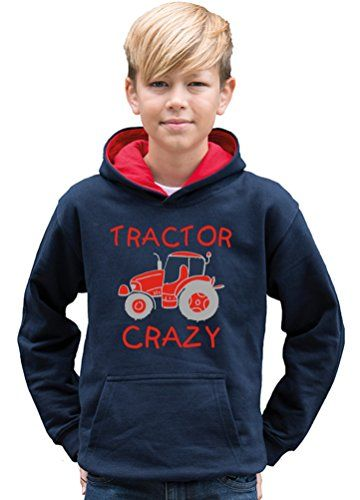 TWO TONE NAVY & RED HOODIE 'TRACTOR CRAZY (DESIGN 2) with Red & Silver print.