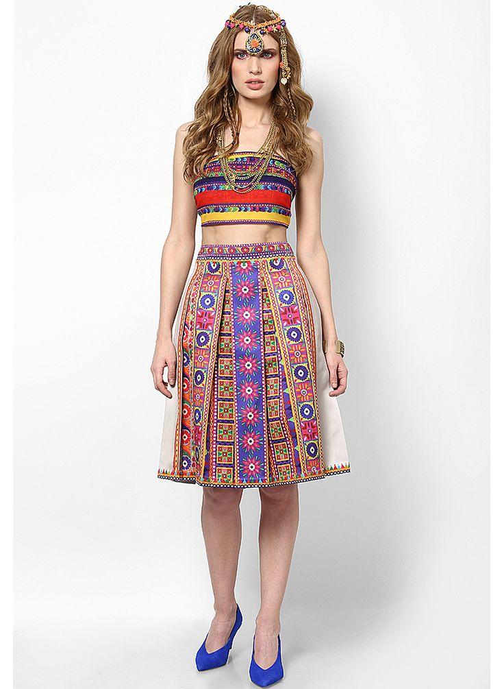 Printed and Pleated Knee Length Banjara Skirt by Preeti S Kapoor