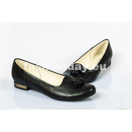 Dámske kožené balerínky čierne dierkované DT245 - fashionday.eu