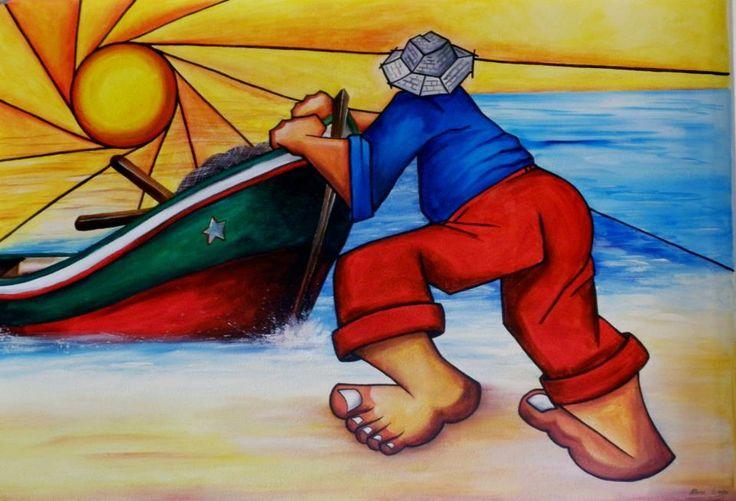 PESCADOR - mural pintura em parede por MEIRE GOMES