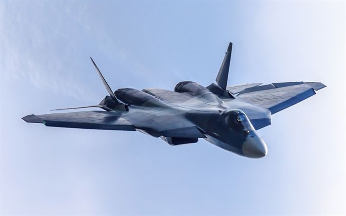 Download wallpapers PAK FA T-50, Su-57, Russian military fighter, Russian Air Force, military aircraft