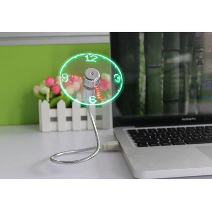Cool Office Gadget Flexible Gooseneck USB LED Clock Fan For Laptop Notebook PC #BLEDesign