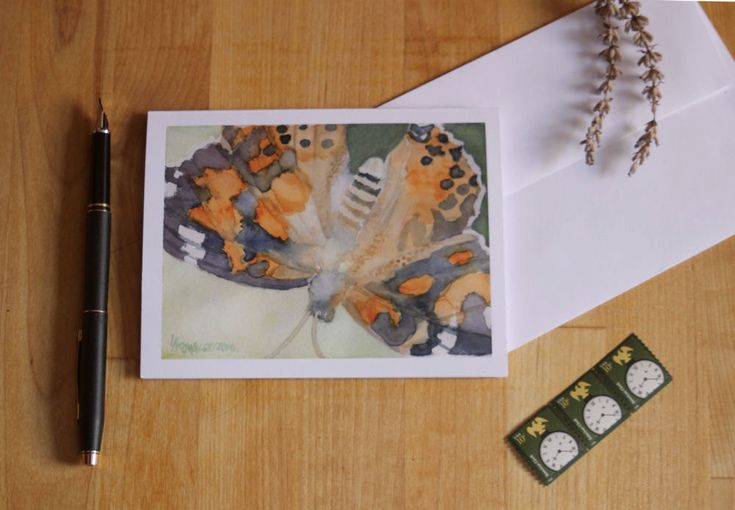 Painted Lady Butterfly Note Card Blank Watercolor Notecard Invitation Thank You Birthday Anniversary Greeting Card Watercolour Artwork by SycamoreWoodStudio on Etsy