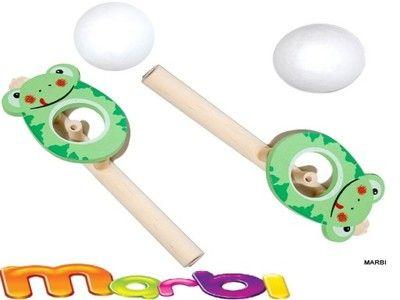 DMUCHAWKA zabawka logopedyczna drewniana z piłką