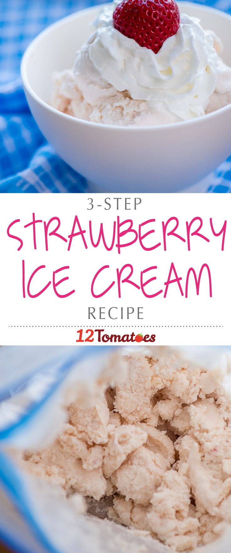 3-Step Strawberry Ice Cream | This might not be new for those of you who did this in a science class in elementary school, but with a few plastic bags, some ice and some rock salt, you can make some pretty amazing ice cream…and in under 20 minutes!