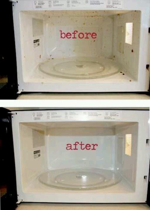 1 Cup vinegar + 1 Cup water + 10 minutes in microwave = Steamed Cleaned Microwave