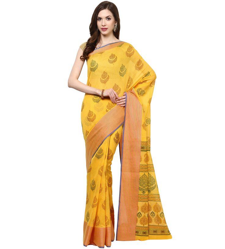 Shop Golden Printed Soft Cotton Saree.  Based in USA California 1-3 day shipping. Shop online  www.pinkphulkari.com