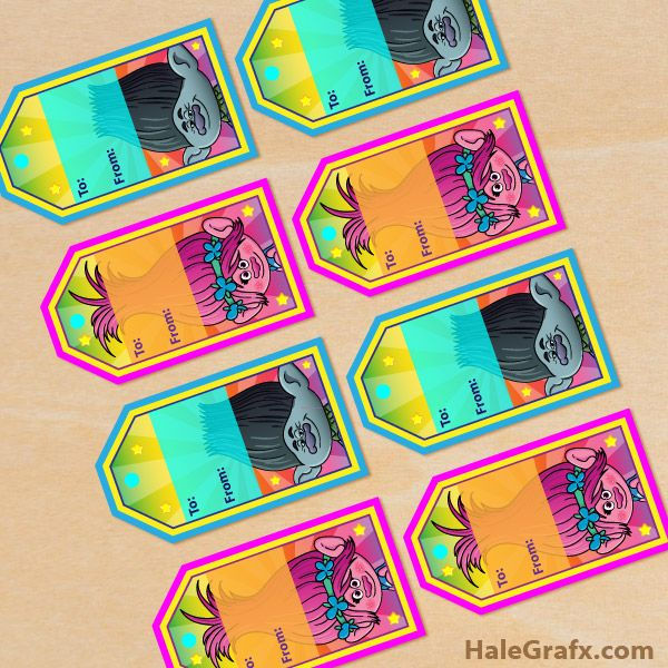 FREE Printable Trolls Gift Tags for Birthday or Christmas