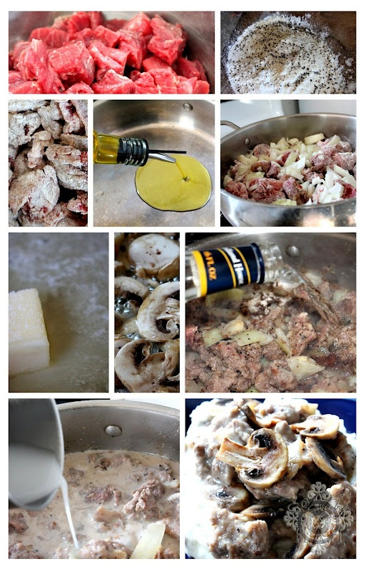 """""""Texas Roadhouse Steak Tips"""" Knock Off   (I would saute the mushrooms first, and while they cook, prep the onions and beef.  Then saute the onions.  Instead of flour, use 1/4 arrowroot and the seasonings to coat the beef)"""