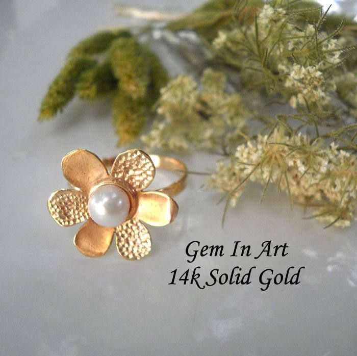 Flower gold ringdaisy gold ringsolid gold ringwedding