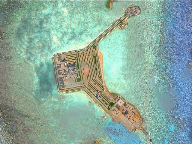 GAVEN REEF, SOUTH CHINA SEA - NOVEMBER 17, 2016: DigitalGlobe overview imagery of one of the Gaven Reefs. The Gaven Reefs are located in the Tizard Bank of the Spratly Islands in the South China Sea. Photo DigitalGlobe via Getty Images.