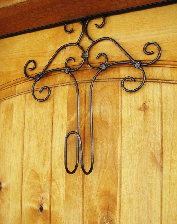 Decorative Metal Door Hanger-WREATH HANGER-Door Hook-Door Decor-Choose Your Color- Painted Hammered Black, Brown, Copper, Ivory, White. $20.00, via Etsy.